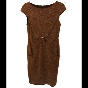 David Meister Brown Tweed Mid-Lenght Dress